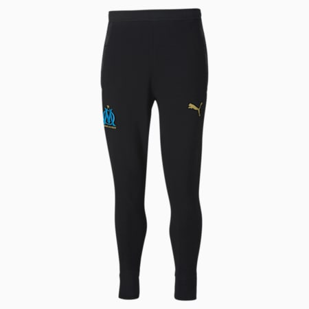 Olympique de Marseille Casuals Football Sweatpants, Puma Black-Bleu Azur, small