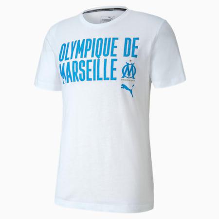 Olympique de Marseille ftblCORE Wording Men's Football T-Shirt, Puma White-Bleu Azur, small-IND