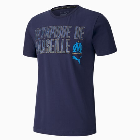 Olympique de Marseille ftblCORE Wording Men's Football T-Shirt, Peacoat-Bleu Azur, small-IND