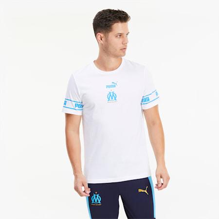 Olympique de Marseille ftblCULTURE II Men's Football Tee, Puma White-Bleu Azur, small