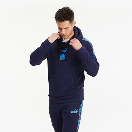 Olympique de Marseille ftblCULTURE II Men's Football Hoodie, Peacoat-Bleu Azur, small