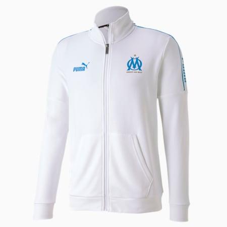 Olympique de Marseille ftblCULTURE Men's Football Track Jacket, Puma White-Bleu Azur, small-IND