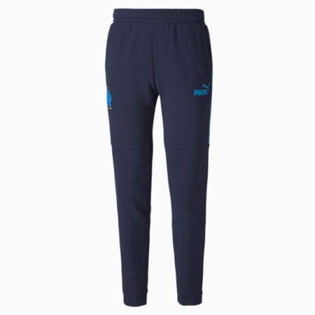 Olympique de Marseille ftblCULTURE Men's Football Track Pants, Peacoat-Bleu Azur, small-IND