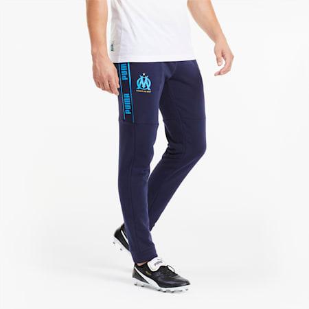 Olympique de Marseille ftblCULTURE Men's Football Track Pants, Peacoat-Bleu Azur, small