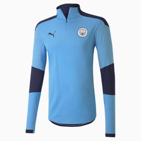 Manchester City FC Men's 1/4 Zip Top, Team Light Blue-Peacoat, small