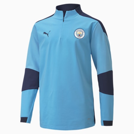 Man City Quarter Zip Jugend Fußball Shirt, Team Light Blue-Peacoat, small