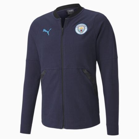 Man City Casuals Men's Football Jacket, Peacoat-Team Light Blue, small
