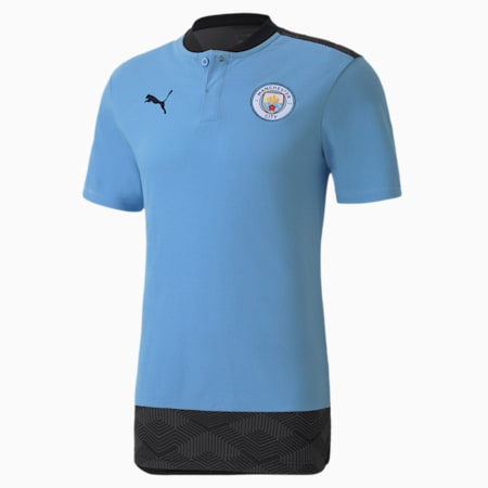 Man City Casuals Men's Football Polo Shirt, Team Light Blue-Peacoat, small-GBR