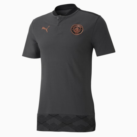 Man City Casuals Men's Football Polo Shirt, Asphalt-Copper, small