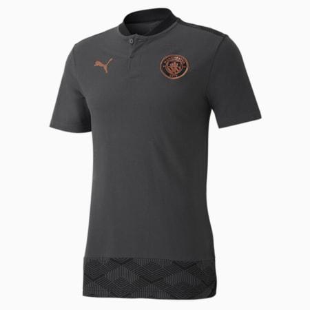Man City Casuals Men's Football Polo Shirt, Asphalt-Copper, small