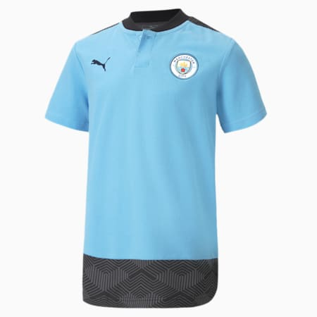 Man City Casuals Youth Fußball Polo, Team Light Blue-Peacoat, small