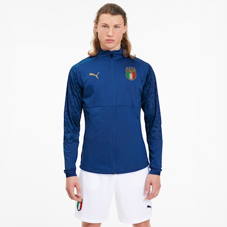 Italia Men's Home Stadium Jacket, Team Power Blue - Team Gold, small