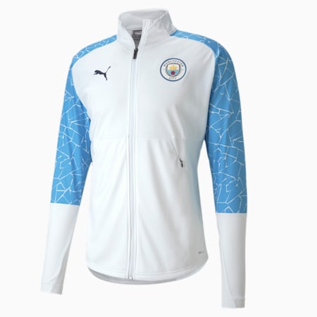 Man City Men's Stadium Jacket, Puma White-Team Light Blue, small
