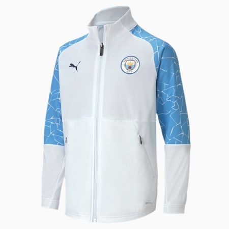 Młodzieżowa piłkarska kurtka stadionowa Man City, Puma White-Team Light Blue, small