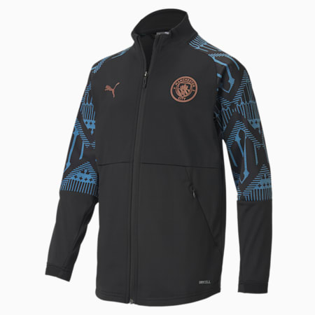 Man City Stadium Youth Football Jacket, Puma Black-Team Light Blue, small