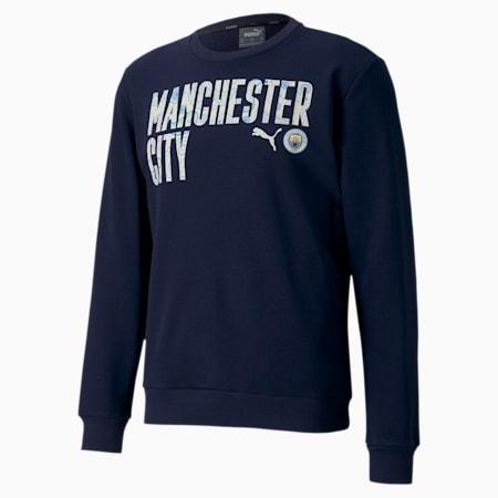 Manchester City ftblCORE Wording Men's Football Sweater, Peacoat-Whisper White, small-IND