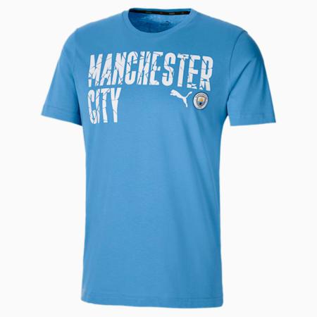 Man City ftblCORE Wording Men's Football Tee, Team Light Blue-Puma White, small