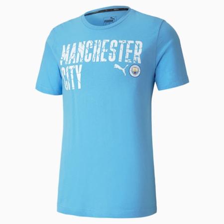 Man City ftblCORE Wording Men's Football Tee, Team Light Blue-Puma White, small-GBR