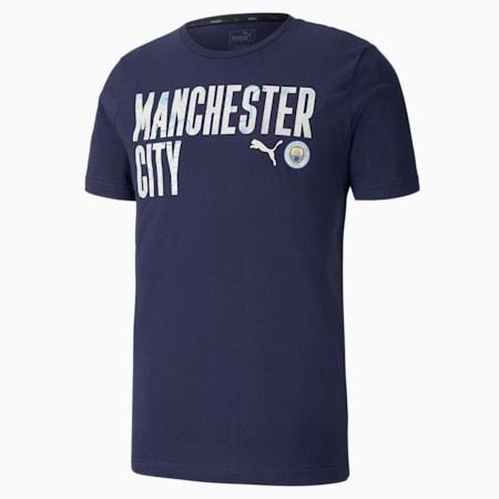 Manchester City ftblCORE Wording Men's Football T-Shirt, Peacoat-Whisper White, small-IND