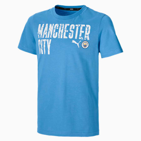 Man City ftblCORE Wording Youth Football Tee, Team Light Blue-Puma White, small