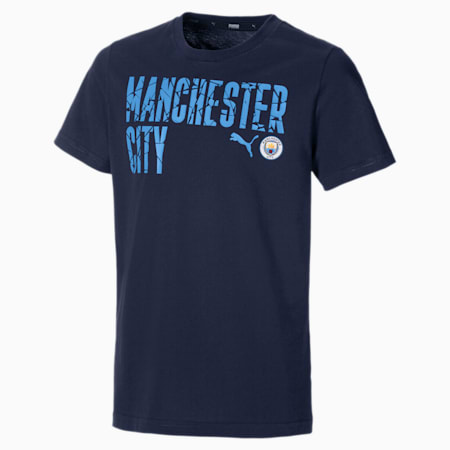 Man City ftblCORE Wording Youth Football Tee, Peacoat-Team Light Blue, small