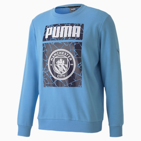Manchester City FC ftblCore Men's Crewneck Sweatshirt, Team Light Blue-Peacoat, small