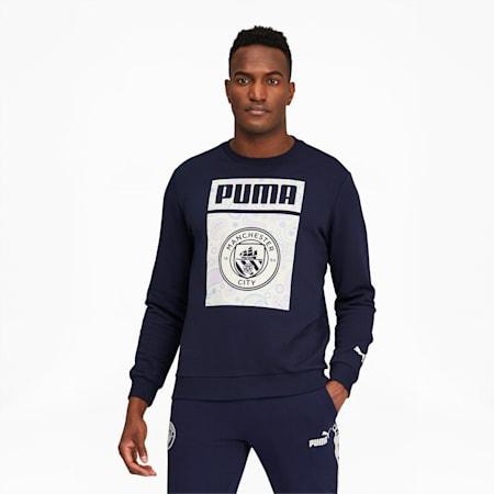 Manchester City FC ftblCore Men's Crewneck Sweatshirt, Peacoat-Whisper White, small