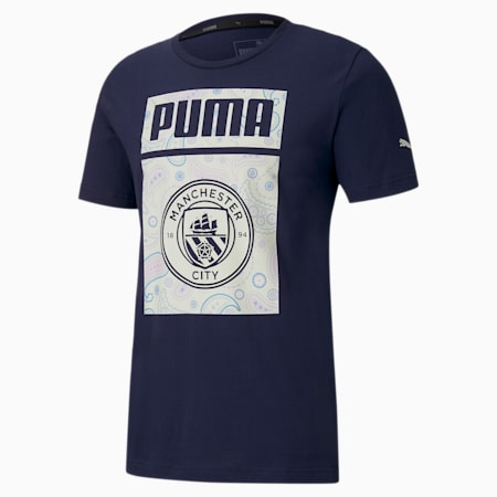 Manchester City FC ftblCore Men's Graphic Tee, Peacoat-Whisper White, small
