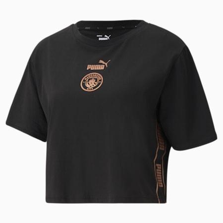 Man City ftblCULTURE Damen Fußball T-Shirt, Puma Black-Copper, small