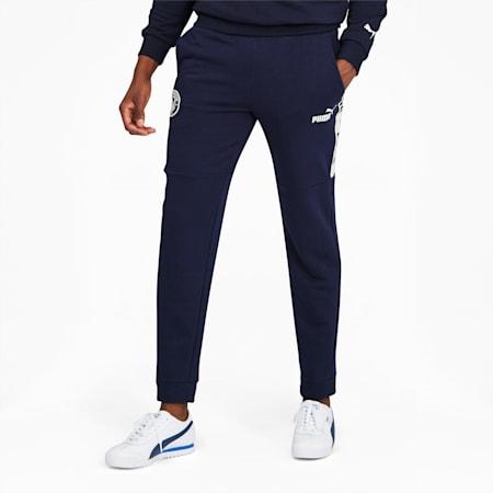 Manchester City FC ftblCulture Men's Track Pants, Peacoat-Whisper White, small