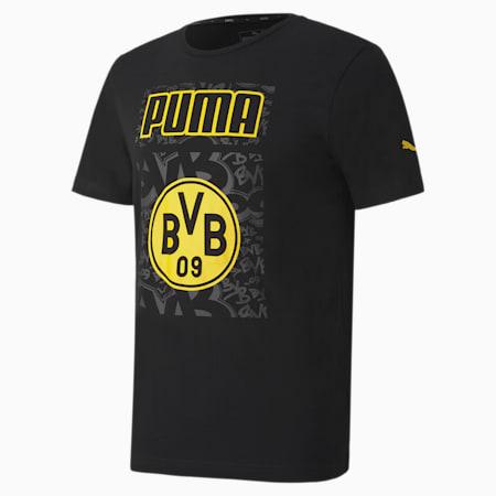 BVB ftblCORE Graphic Men's Football T-Shirt, Puma Black-Cyber Yellow, small-IND