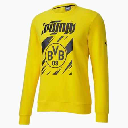 BVB ftblCORE Graphic Men's Football Sweater, Cyber Yellow-Puma Black, small-IND