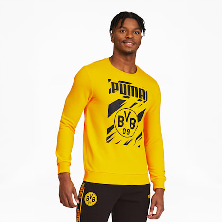 BVB ftblCore Men's Graphic Sweatshirt, Cyber Yellow-Puma Black, small