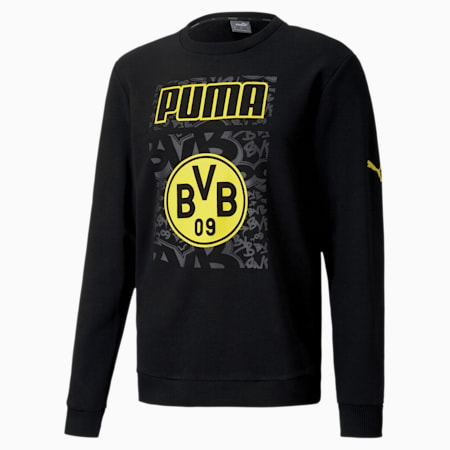 BVB ftblCORE Graphic Men's Football Sweater, Puma Black-Cyber Yellow, small-IND