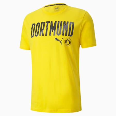 BVB ftblCORE Wording Men's Football Tee, Cyber Yellow-Puma Black, small