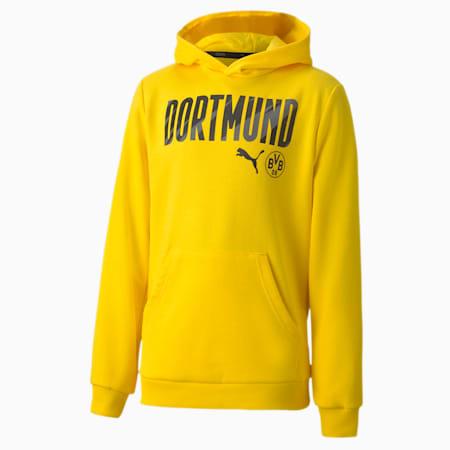 BVB ftblCORE Wording Youth Football Hoodie, Cyber Yellow-Puma Black, small