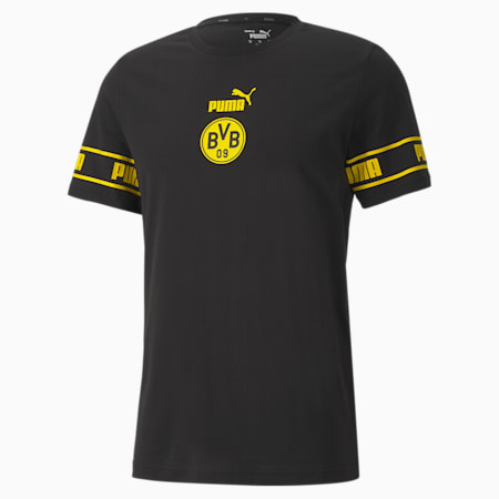 BVB ftblCULTURE Men's Football T-Shirt, Puma Black-Cyber Yellow, small-IND