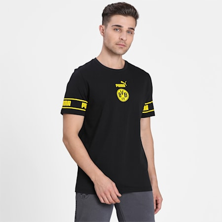 Camiseta BVB ftblCulturepara hombre, Puma Black-Cyber Yellow, pequeño