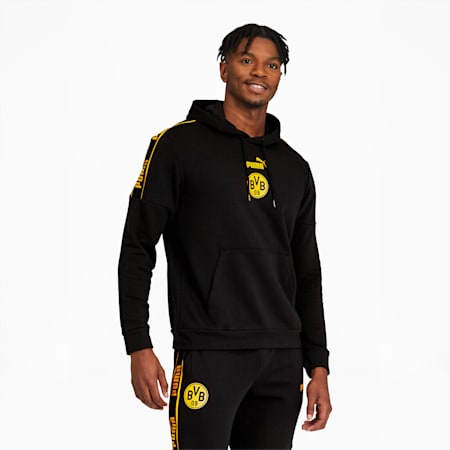 BVB ftblCulture Men's Hoodie, Puma Black-Cyber Yellow, small