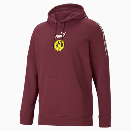 BVB ftblCulture Men's Hoodie, Burgundy-Cyber Yellow, small