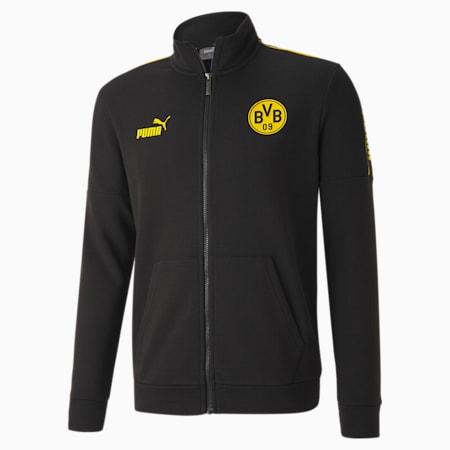 Blouson de survêtement de football BVB ftblCULTURE homme, Puma Black-Cyber Yellow, small