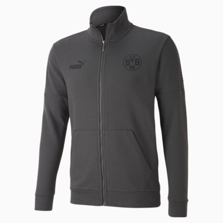 BVB ftblCULTURE Men's Football Track Jacket, Asphalt-Cyber Yellow, small-IND