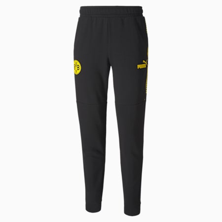 BVB ftblCULTURE Men's Football Track Pants, Puma Black-Cyber Yellow, small