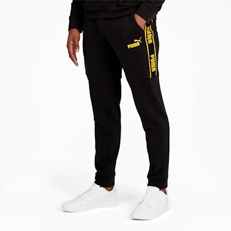 BVB ftblCulture Men's Track Pants, Puma Black-Cyber Yellow, small