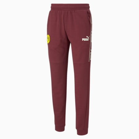 BVB ftblCulture Men's Track Pants, Burgundy-Cyber Yellow, small