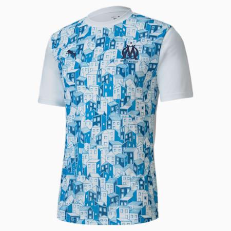 Olympique de Marseille Stadium Men's Jersey, Puma White-Bleu Azur, small