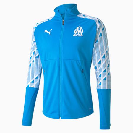 Olympique de Marseille Men's Stadium Jacket, Bleu Azur-Puma White, small
