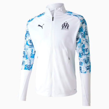 Olympique de Marseille Stadium Men's Football Jacket, Puma White-Bleu Azur-Peacoat, small