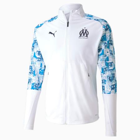 Olympique de Marseille Stadium voetbaljack voor heren, Puma White-Bleu Azur-Peacoat, small