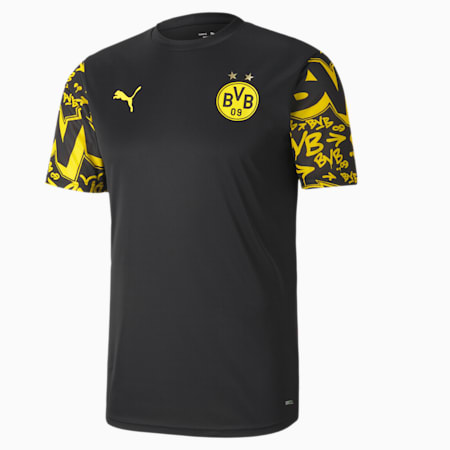 BVB Stadium Men's Jersey, Puma Black-Cyber Yellow-Away, small